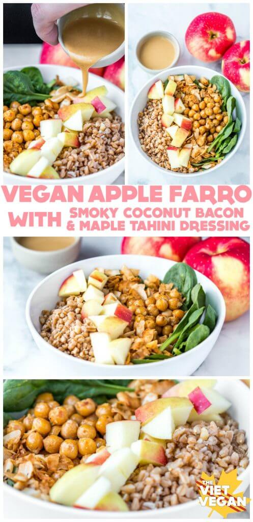 Vegan Apple Farro Bowls with Maple Tahini Dressing | The Viet Vegan