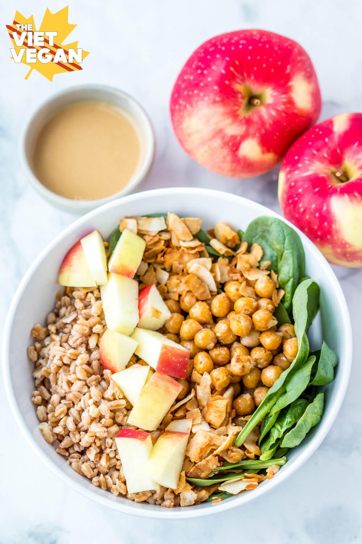 Vegan Apple Farro Bowls with Maple Tahini Dressing