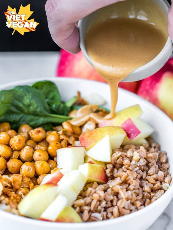 Vegan Apple Farro Bowls with Maple Tahini Dressing | The Viet Vegan
