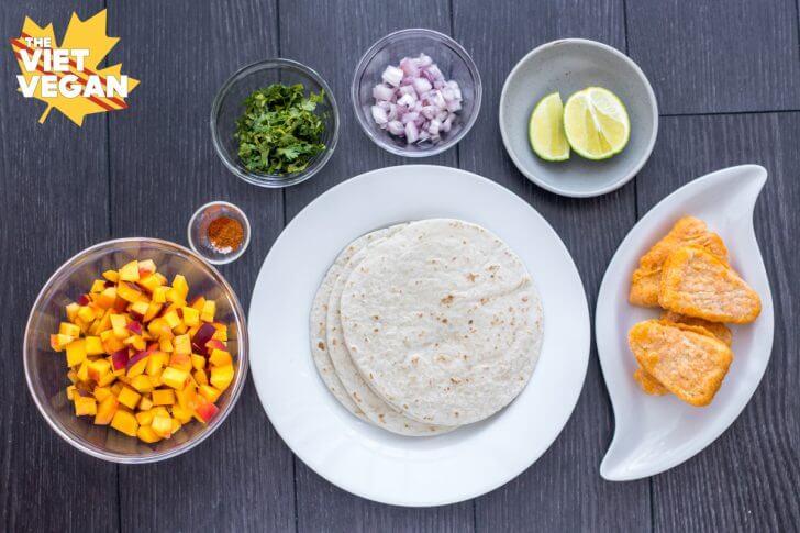 Vegan Fish Tacos with Peach Salsa | The Viet Vegan