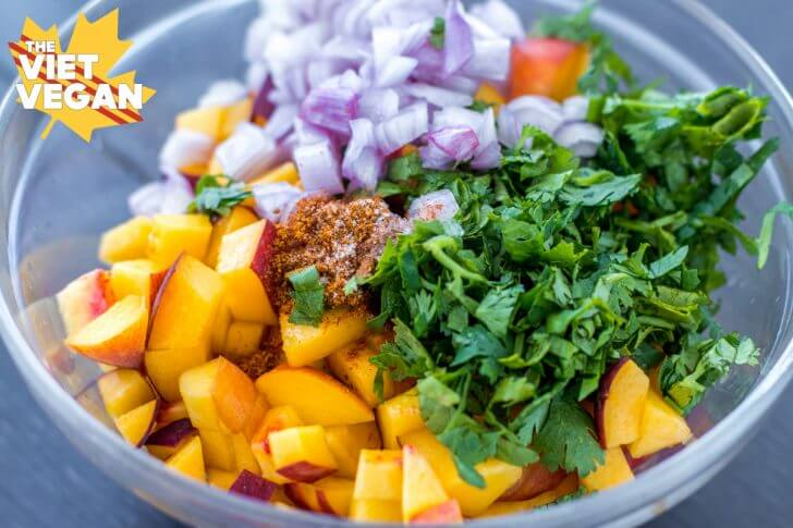 Vegan Fish Tacos with Peach Salsa | The Viet Vegan