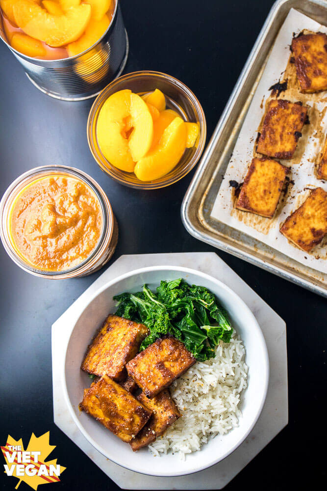 Peach BBQ Baked Tofu | The Viet Vegan