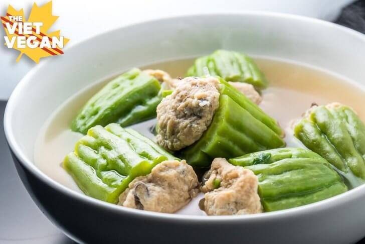 Canh Kho Qua Chay - Vegan Stuffed Bittermelon Sou