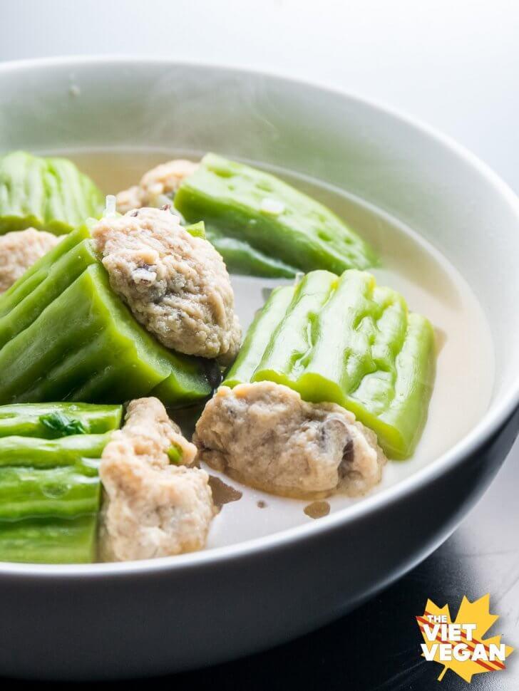 Canh Khổ Qua Chay (Vegan Stuffed Bitter Melon Soup)