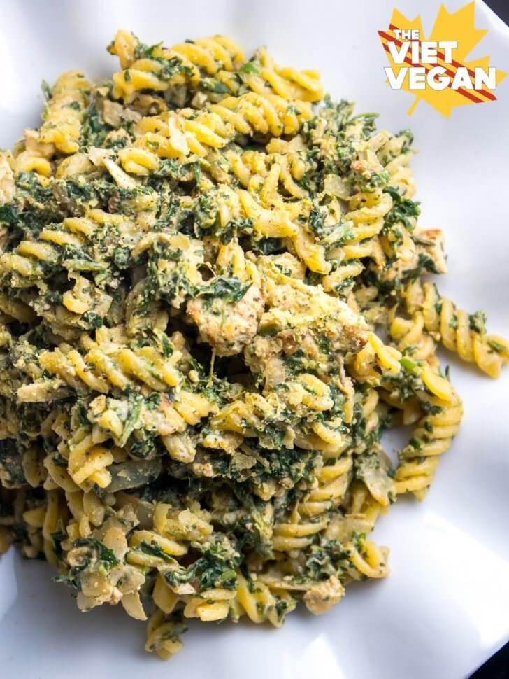 Vegan Gluten-Free Creamy Spinach Pasta with Vegan Chicken