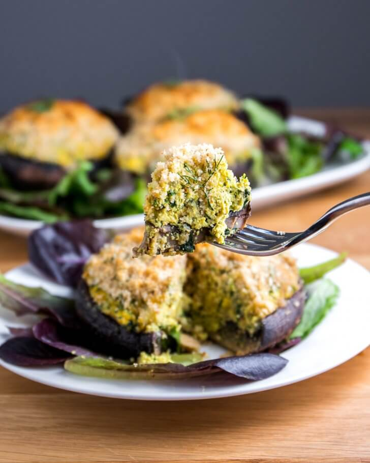 Vegan Quiche Stuffed Portabella Mushrooms
