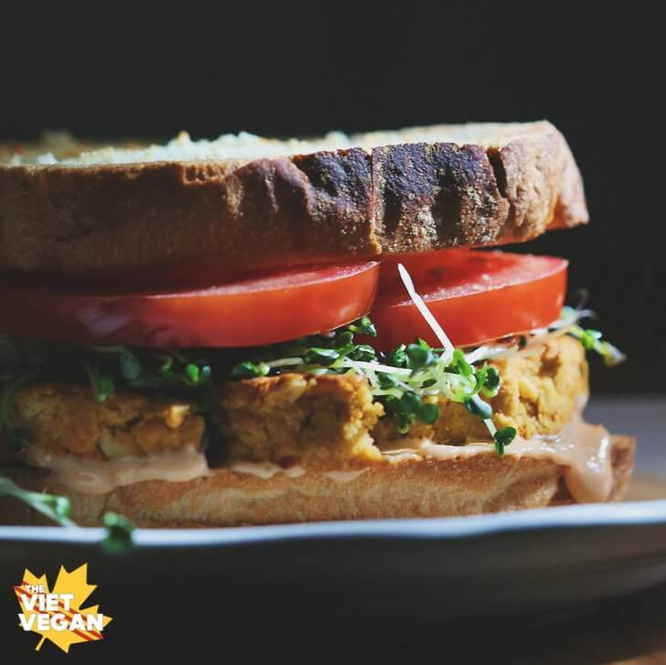 Vegan Lentil Patty Sandwich | The Viet Vegan