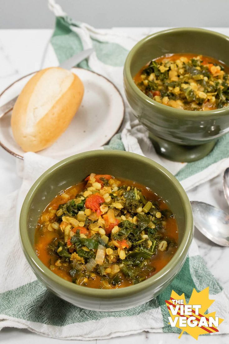 Vegan Kale Lentil Barley Stew | The Viet Vegan