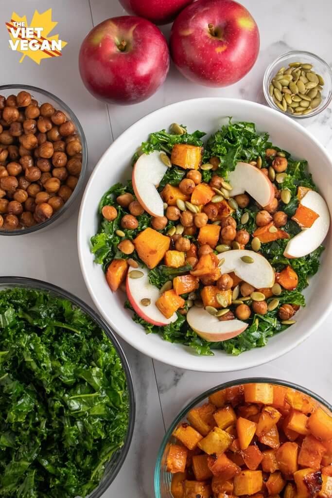 Vegan Massaged Kale and Apple Winter Salad (Meal-Prep friendly!)