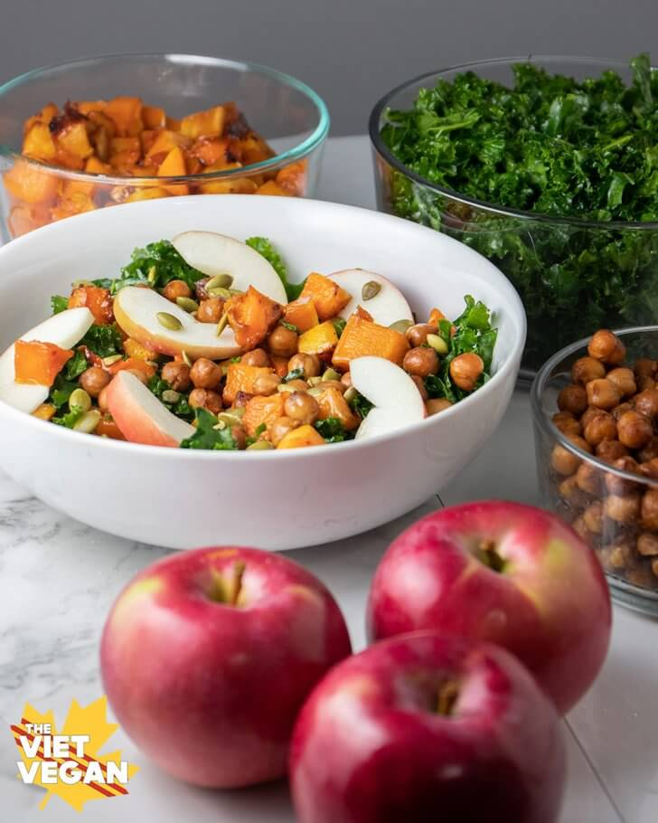 Vegan Massaged Kale and Apple Winter Salad