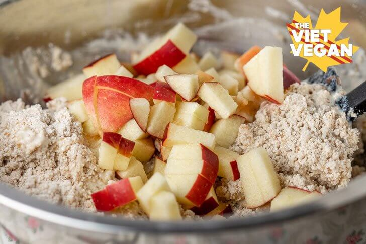Diced Ontario apples added to batter