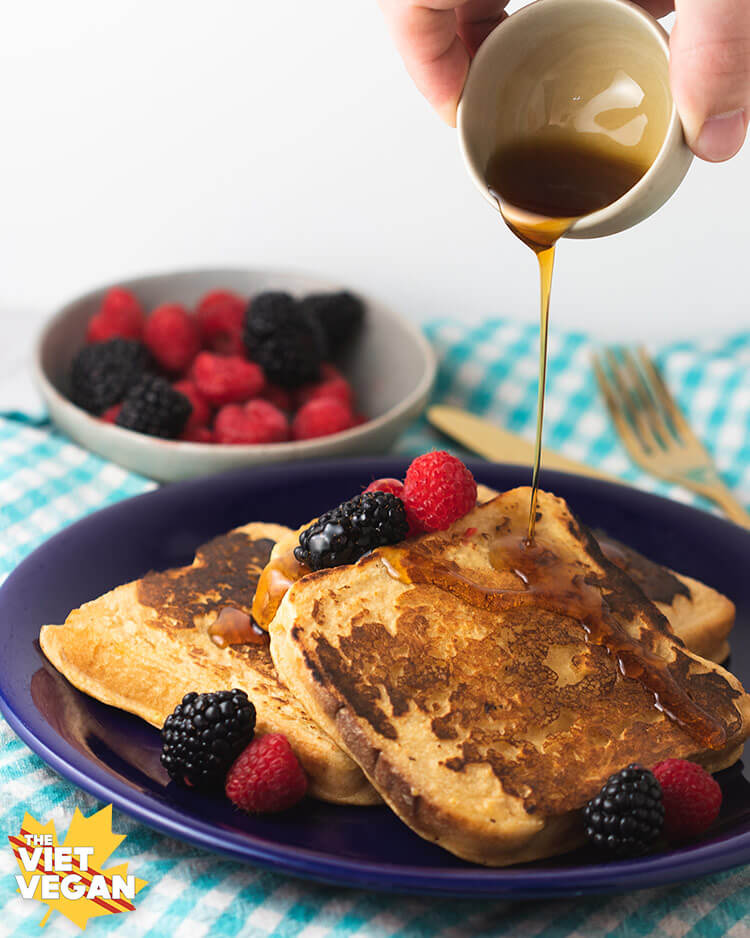 Vegan French toast with maple syrup drizzle