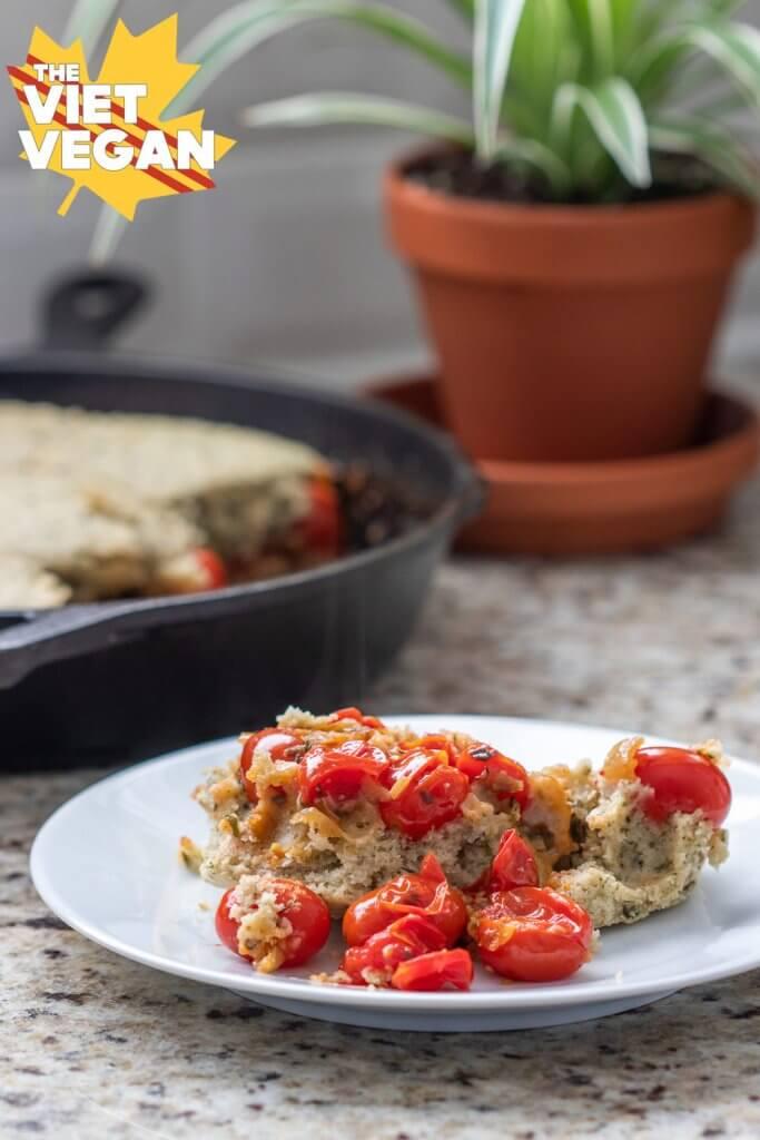serving of baked tomato cobbler