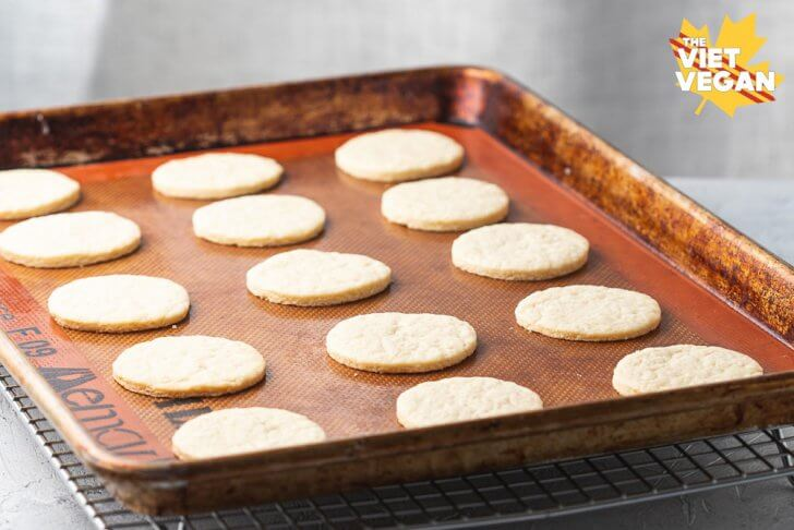 Baked cookies on baking sheet