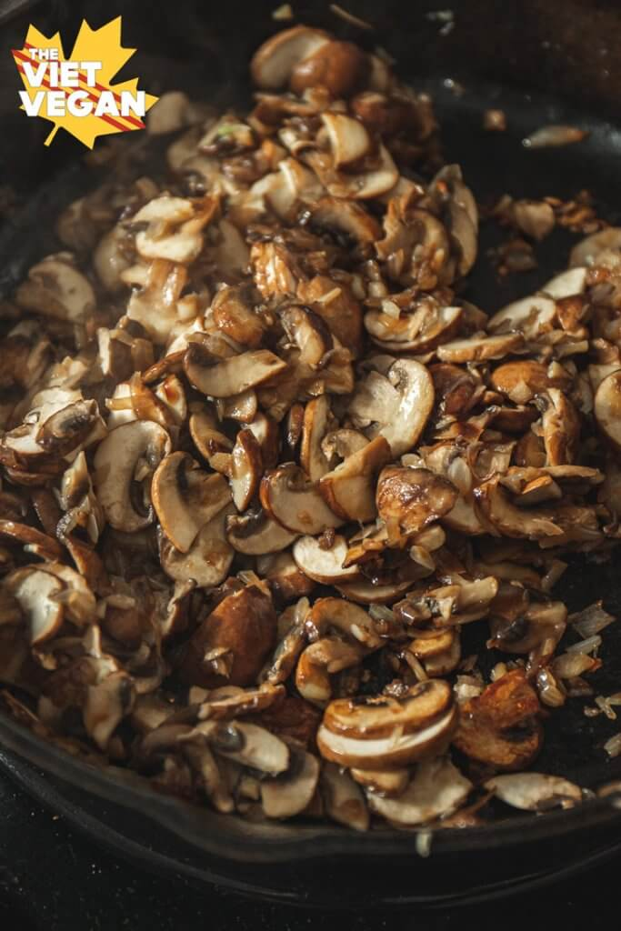 cooked mushrooms in a pan
