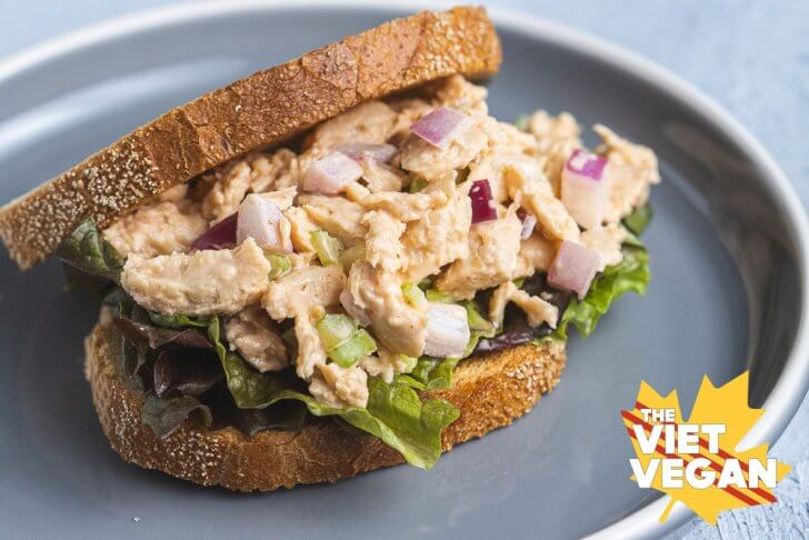 Vegan spicy chicken salad on a plate