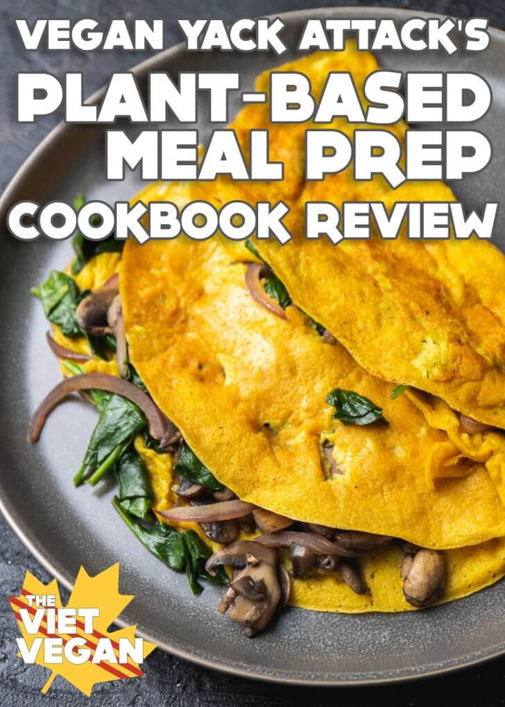 Vegan omelette with Plant-Based Meal Prep cookbook review text overlay