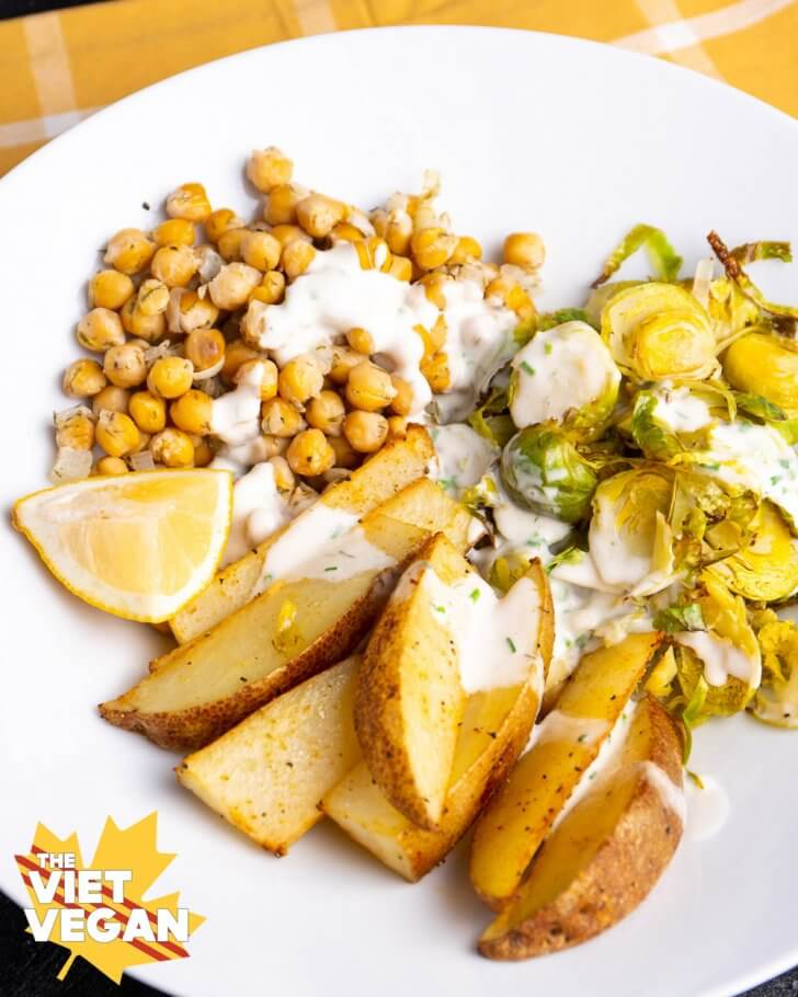 Dill chickpeas and potato wedges with roasted brussels sprouts