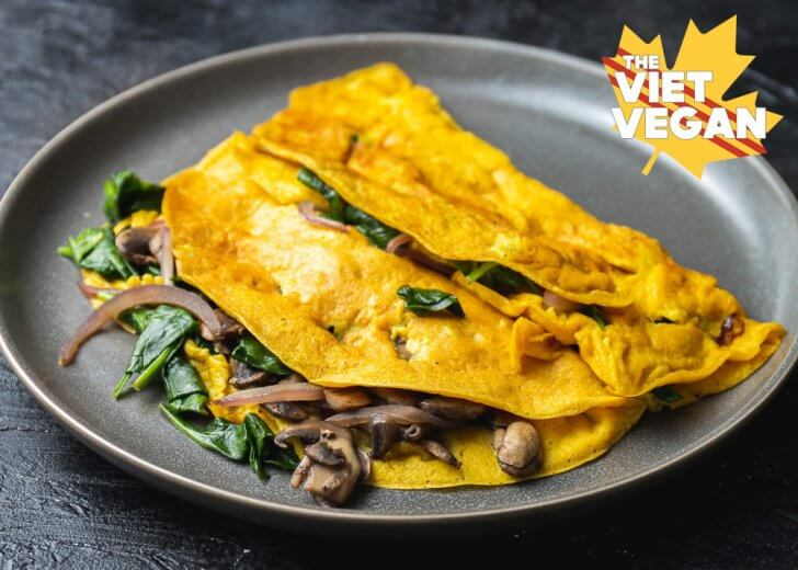 Vegan Mushrom and Spinach Chickpea Omelette