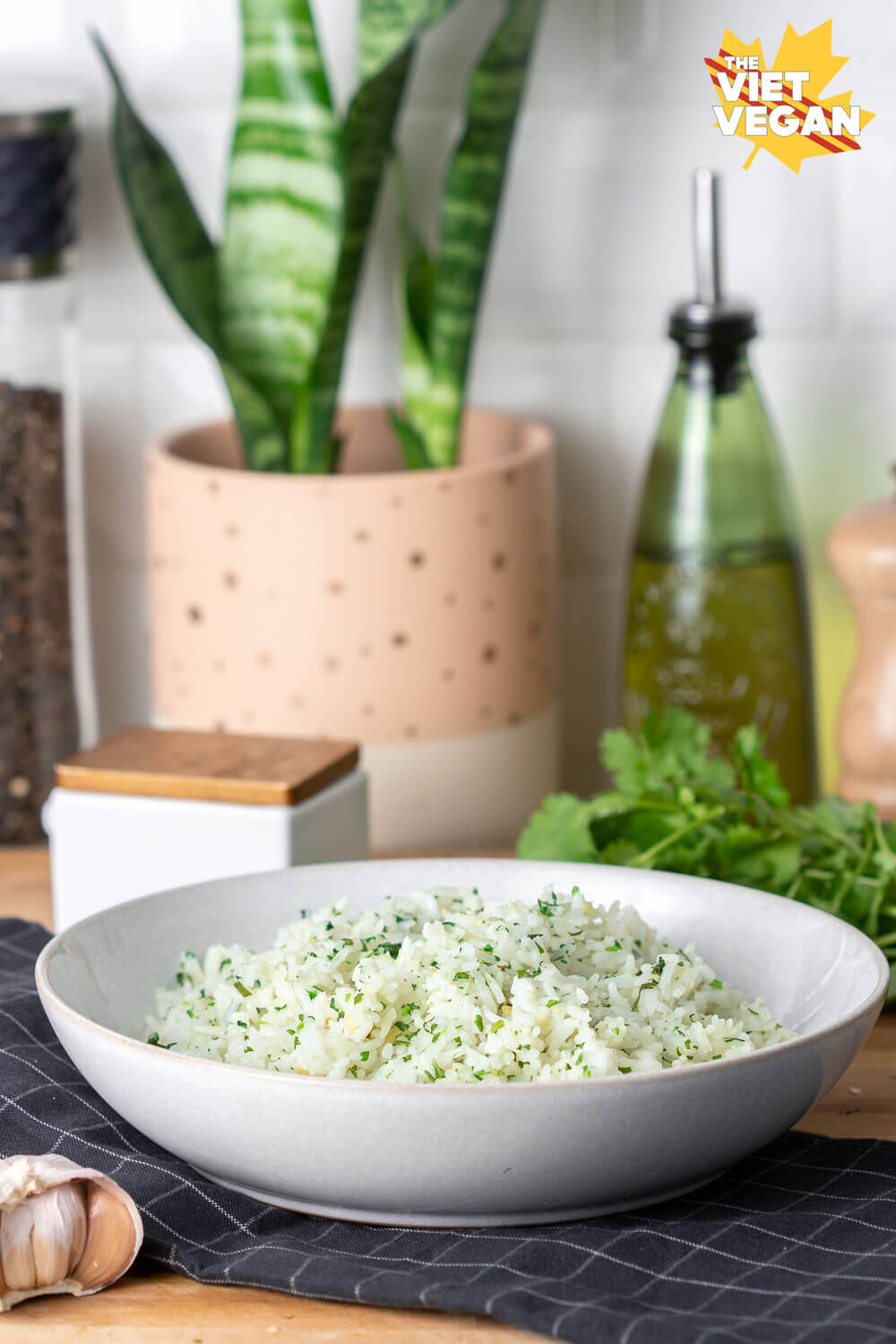 finished rice dish on a tea towel, with cilantro and a snake plant in the background