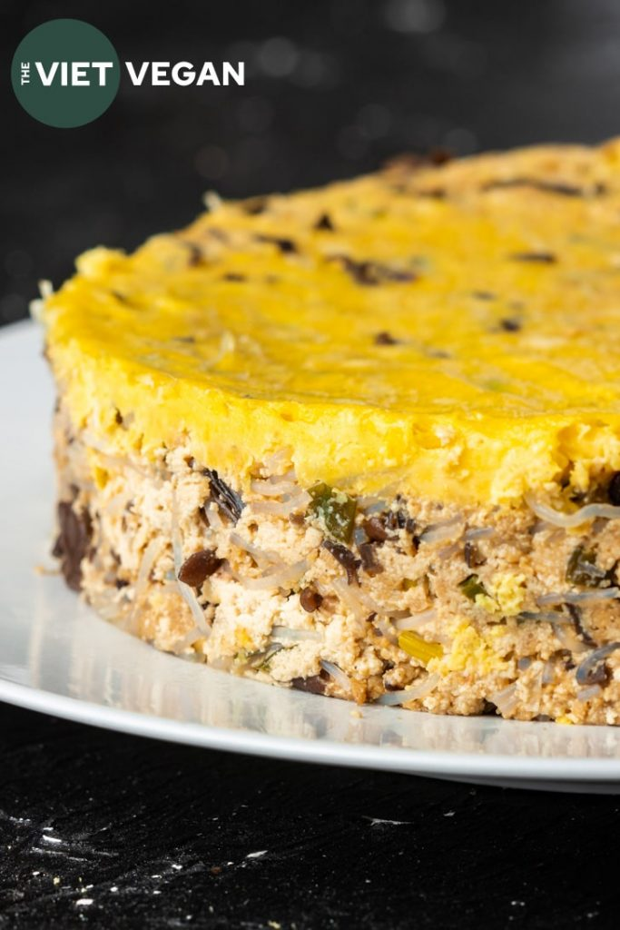 close up of the vietnamese gg meatloaf with just egg layer on top