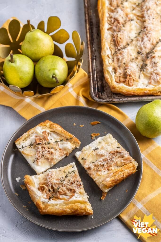 Vegan Ricotta, Pear, Ham, and Cheese Tart
