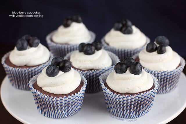 Bloo Blueberry Cupcakes with Vanilla Bean Frosting
