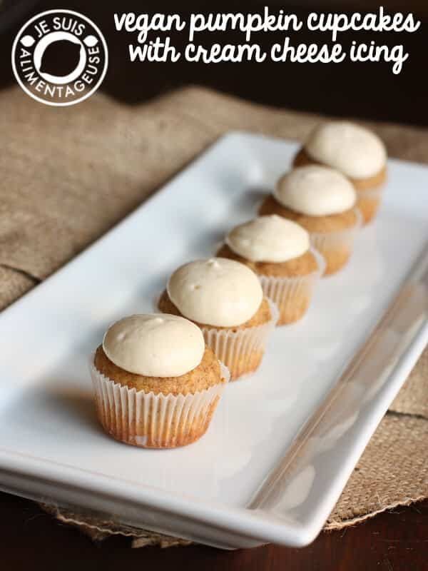 Vegan Pumpkin Cupcakes with Cream Cheese Icing