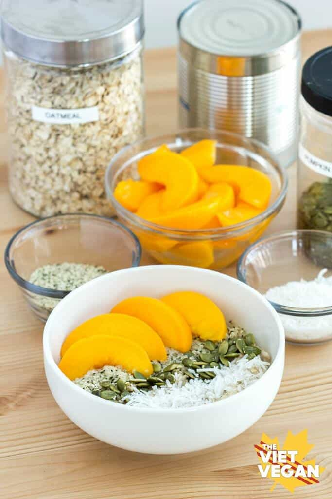 Oatmeal Peach Breakfast Bowl
