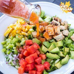 Watermelon Chopped Salad with Watermelon Vinaigrette