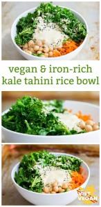 Vegan Iron-Rich Kale Tahini Rice Bowl