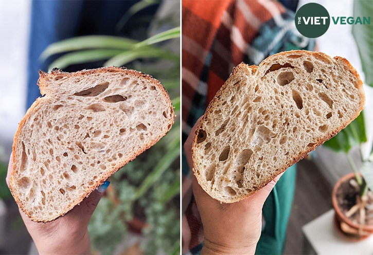 Crumb shot of two loaves (the seeded and the plain loaves)