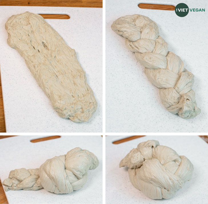 Stages of the braided seitan