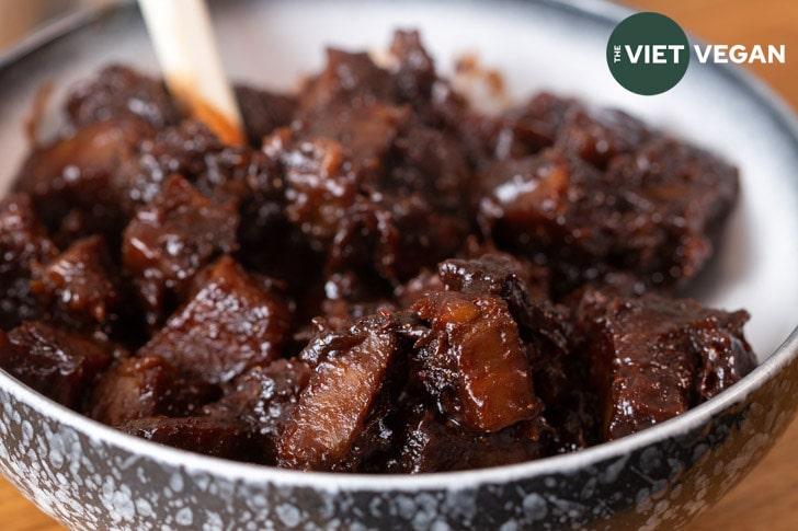 vegan char siu seitan in a bowl