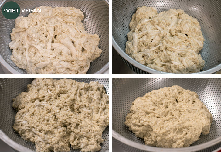 Stages of the washed flour method, clockwise from the top left shows less and less starch present in the seitan.
