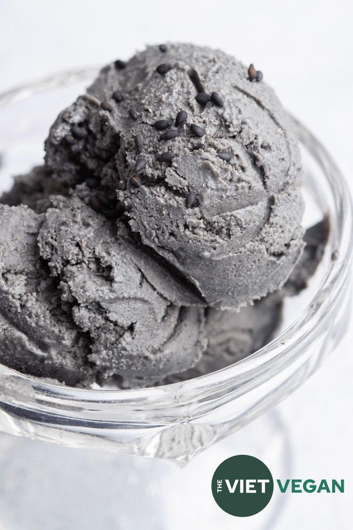 No Churn Black Sesame Ice Cream