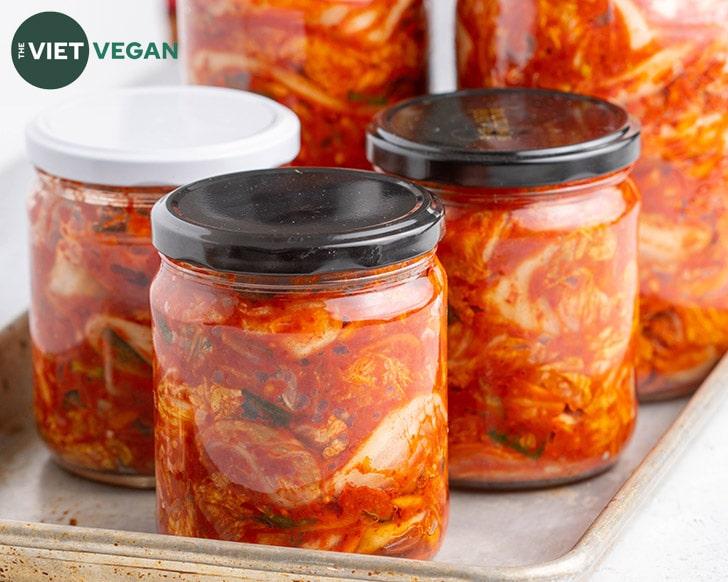 kimchi jars horizontal on a baking tray