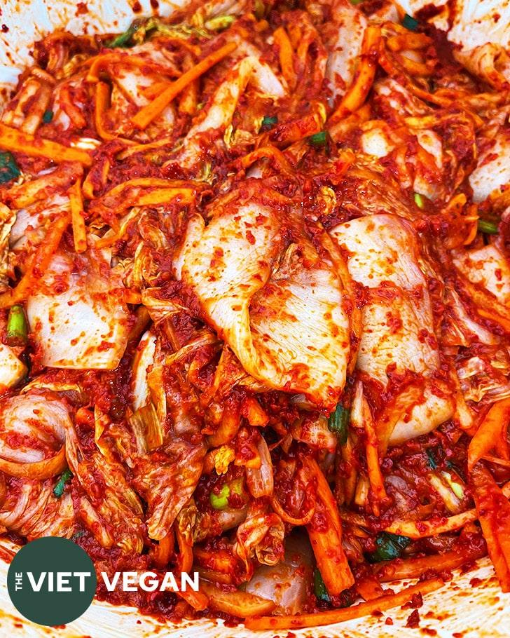 kimchi fully mixed in the bowl