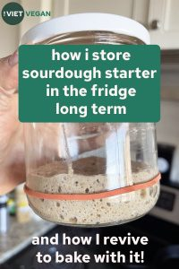 picture of sourdough starter in a jar, with text overlay of the title of the post
