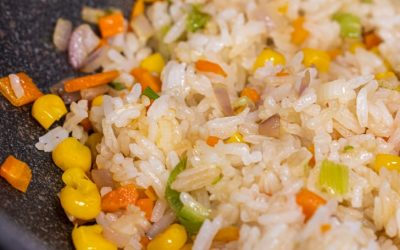 fried rice in a wok