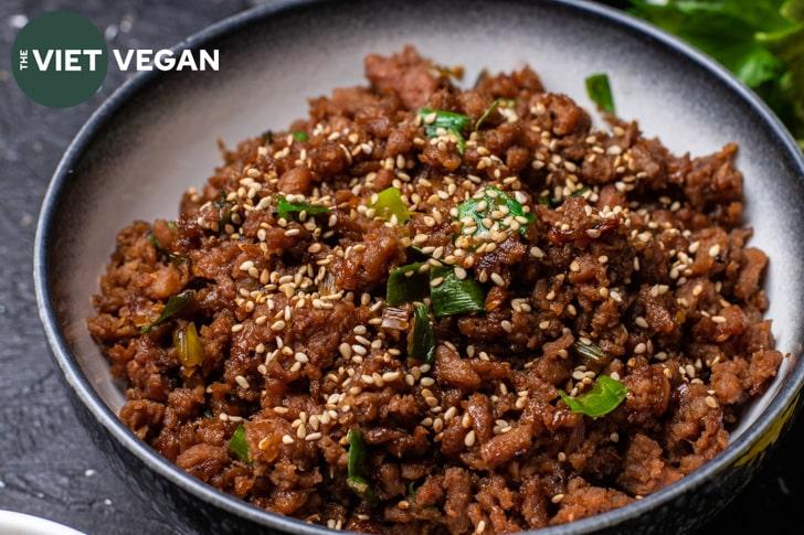 Cooked vegan bulgogi ground in a bowl