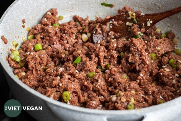 vegan bulgogi ground mixture in a pan before cooking