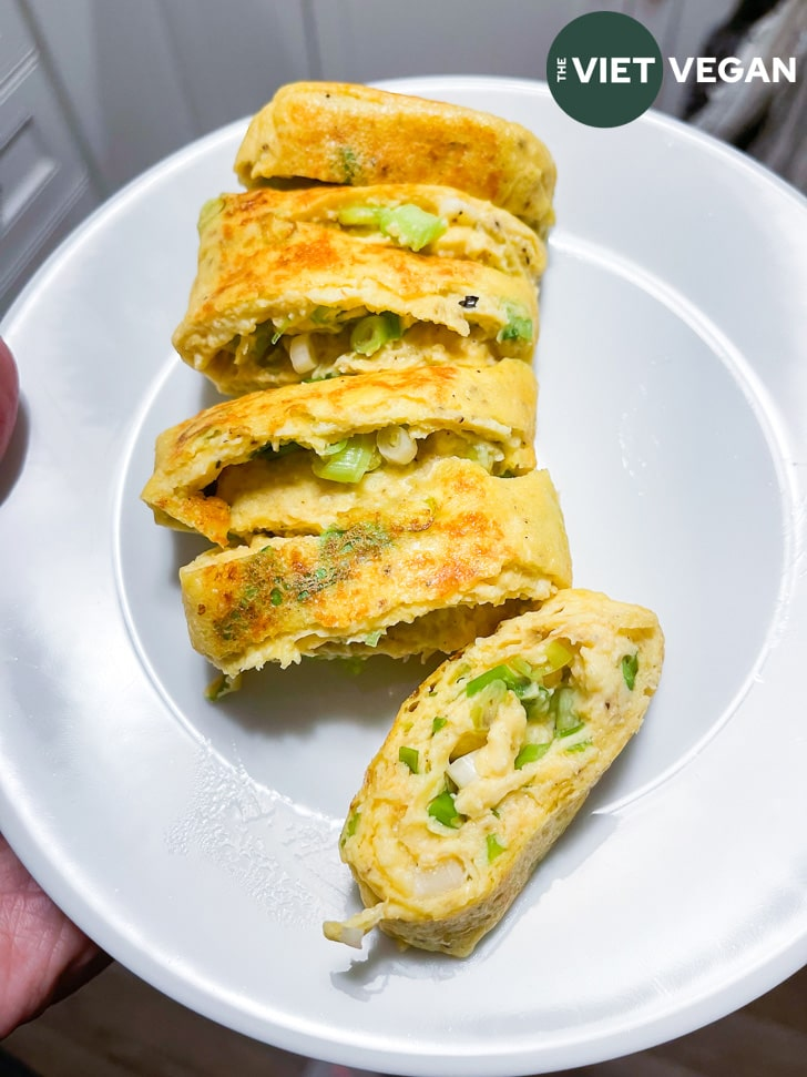 Just Egg Vietnamese omelette test cooked on a plate