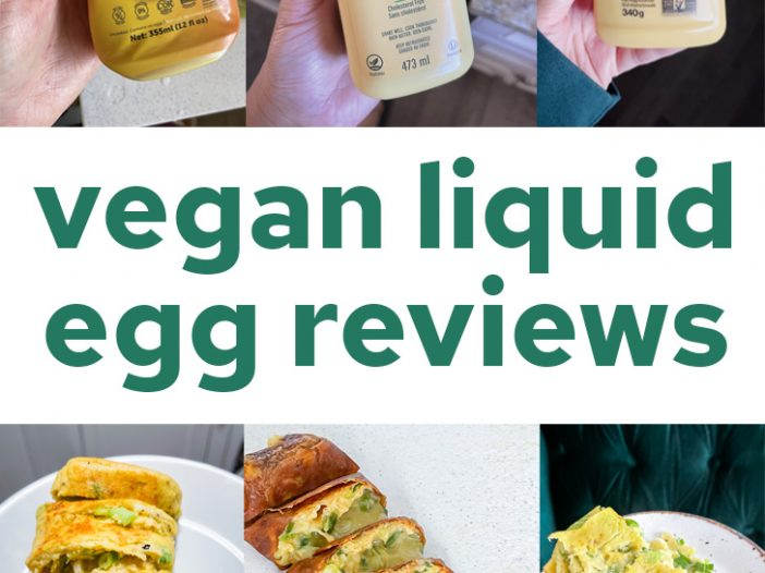 Vegan liquid egg review, three bottles of the products on top, three photos of the cooked products below